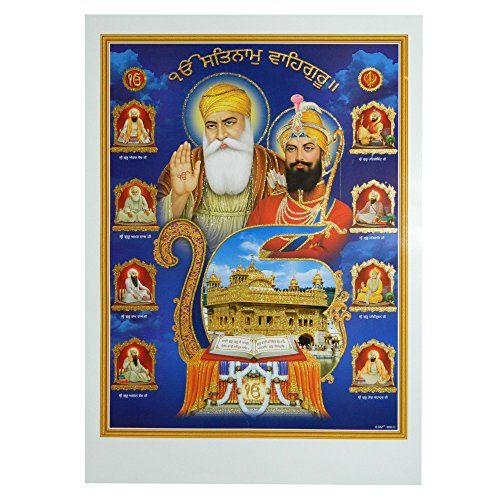 indischerbasar.de Stampa Riproduzione Dieci Guru del sikhismo 50x70cm Golden Temple Harmandir Sahib Sri Guru Granth Sahib Stampa su Carta Accessori Decorazione casa