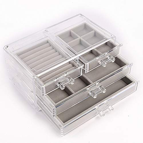 Acrylic Jewelry Storage Box Organizer Women 4 Drawers Clear Jewelry Organizer Box for Earring Necklace Bracelet Jewelry Storage Holder Organizer
