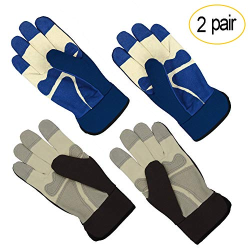 All-Season Leather Gardening Gloves - PROMEDIX - Garden Gloves With Pig Split Leather, Suitable For Thorny Rose Pruning and Yard Work, 2 Pair (M/8, Grey + Blue)
