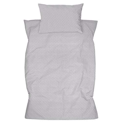 Amilian Kinderbettwäsche 2-teilig 100% Baumwolle Kinder Bettwäsche Babybettwäsche für Baby Bettbezug 100 x 135 cm, Kopfkissenbezug 40 x 60 cm, mit Hotelverschluß Pünktchen KLEIN Grau Hellgrau