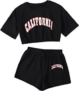 SheIn Girls Short Sleeve Letter Graphic 2pcs Crop Top and Track Shorts Set