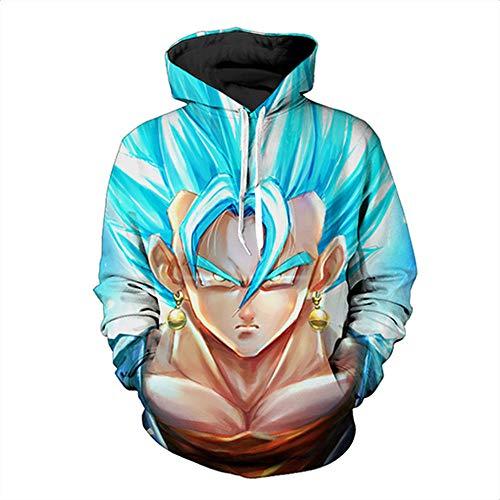 XIEYUJIEE Hombre Dragon Ball Series 3D Hoodie Cosplay Cosume Hoodie Pullover Sweater-Qilong Zhuan Sweater - Pendientes Water Blue Hair_XXL