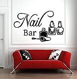 yaonuli Salón de uñas Logo Etiqueta de la Pared Etiqueta Esmalte de uñas manicura pedicura Etiqueta de la Pared salón de Belleza decoración de la habitación50X31cm