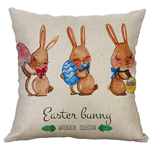 Moent Funda de almohada de conejo con huevos de Pascua, de lino y algodón, cuadrada, decorativa, para sofá, funda de cojín para decoración de festivales (A1)