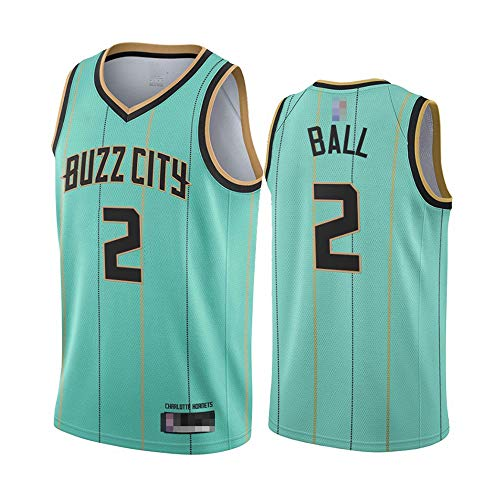 Maglie da Basket da Uomo, NBA Charlotte Hornets # 2 Lonzo Ball - Gilet Classici Top Comfort Sport Traspirante Sport Senza Maniche Uniformi,M(170~175CM)