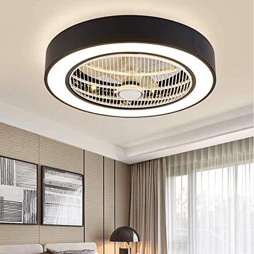 JAKROO Led Lámpara Ventilador De Techo, Regulable, con Control Remoto, Aspas Ocultas De 3 Velocidades, Ventilador Eléctrico Silencioso De Perfil Bajo para Dormitorio