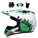 VOMI Casco Motocross Blanco y Verde con Gafas Máscara Guantes, Casco Moto Cross Infantil Niño para Enduro MX Quad Off Road ATV Scooter,S