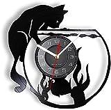 El Reloj de Pared del Acuario adopta un pez de Vinilo Real para Gatos, un Reloj de Pared con Registro LP de Vinilo vívido, decoración de Artes y Manualidades