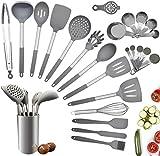 Juego de utensilios de cocina, 25 piezas de silicona para cocinar, juego de utensilios de cocina con silicona resistente al calor sin BPA y mango de acero inoxidable, espátula, cuchara, pinzas, batidor, tazas medidoras, juego de utensilios de cocina