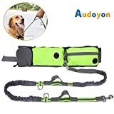 Audoyon Hands Free Dog Leash, Shock Absorbing Bungee Leash with Treat Pouch, Pocket