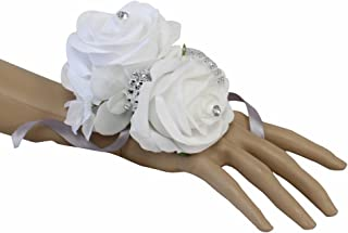 Angel Isabella Wrist Corsage-Beautiful handmade wrist corsage keepsake artificial roses 40+colors (White/White)