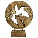 My-goodbuy24 Teakholz Deko Abstrakte Skulptur auf Sockel Massivholz Accessoire Dekofigur Wurzel...