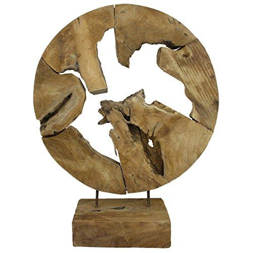 My-goodbuy24 Teakholz Deko Abstrakte Skulptur auf Sockel Massivholz Accessoire Dekofigur Wurzel Handgeschnitzt - Jede Holzskulptur EIN Unikat - Höhe 60 cm - Handarbeit