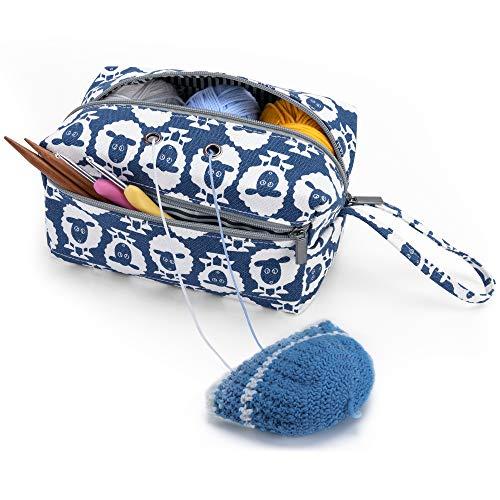 Luxja Bolsa de Almacenamiento de Lana, Bolsa de Crochet Bolsa de Tejer, Bolso para madejas de Hilo, Ganchos de Ganchillo, Agujas de Tejer (hasta 8 Pulgadas) y Otros Accesorios pequeños