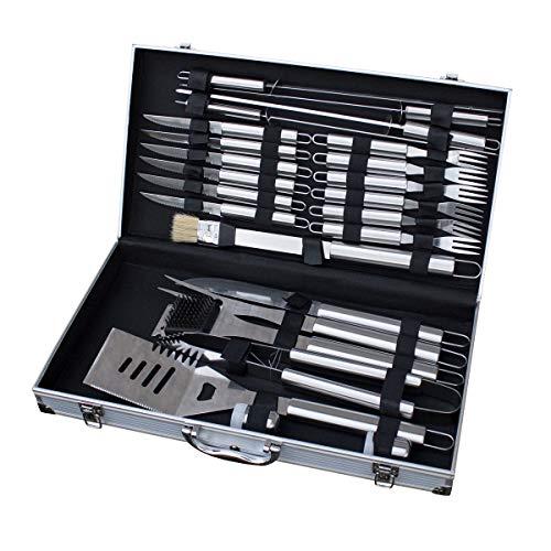 TAINO Grillbesteck Koffer 18-TLG. oder 24-TLG. Edelstahl Grillkoffer Grill-Set Besteck-Set Grillen Grill-Werkzeug (24 Teile)
