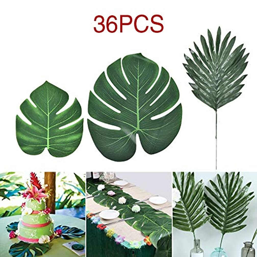 Sunm boutique Artificial Palm Leaves, Tropical Palm Leaves Tropical Monstera Plant Leaves for Hawaiian Safari Jungle Beach Theme Party Table Decorations Supplies, Pack of 36 (3 Styles Palm Leaves)