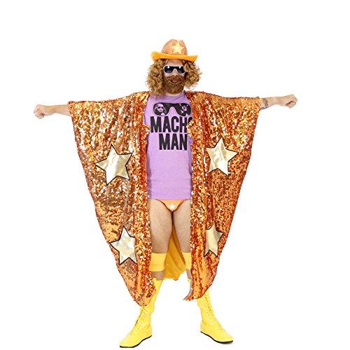 WWE - Disfraz de Randy Savage, camiseta de Macho Man y capa de lentejuelas