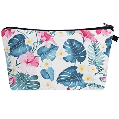 PREMYO Kosmetiktasche Klein für Handtasche - Schminktasche Damen Make Up Tasche - Federmappe Mädchen Etui Blumen