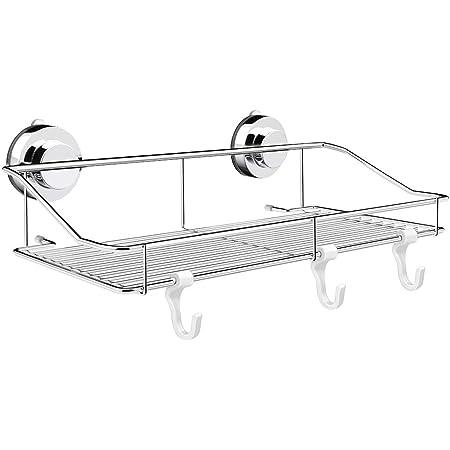 浴室用ラック 強力 吸盤 お風呂の壁に ステンレス シャワーラック (33.5x15x6cm(吸盤))