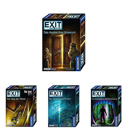 KOSMOS Spiele - EXIT Spiele Set Einsteiger (Das mysteriöse Museum + Das Haus der Rätsel + Der versunkene Schatz + Die Geisterbahn des Schreckens)