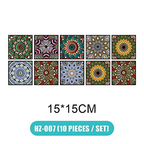FinWell 10pcs/Set 3D Visual Art Geometric Tile Decals Stickers Self-Adhesive for Bedroom Living Room Bathroom Wall Floor