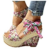 Sunhusing Ladies Wedge Sandals Women's Small Floral Open Toe Wedges Platform Sandals Ankle Lace-Up Peep Toe Sandals(Pink,39)