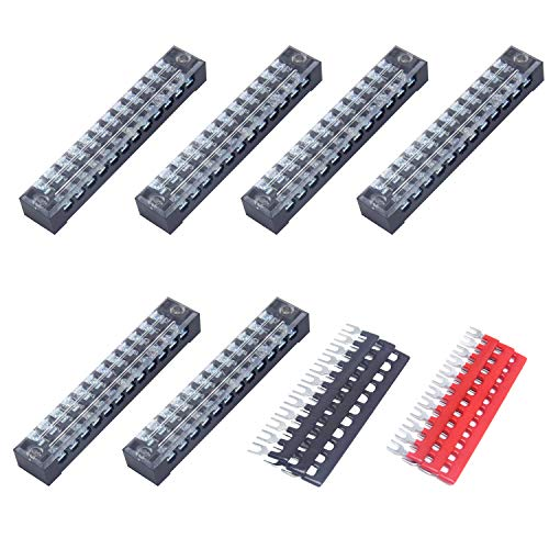 CEEYSEE 12pcs (6 Set) 12 Positions 600V 15A Dual Rows Covered Screw Terminal Block + 6Pcs 12 Positions 400V 15A Pre-Insulated Black/Red Fork Terminal Barrier Strip (TB1512)