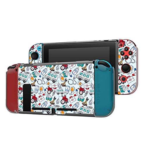 Dockable Case Compatible with Nintendo Switch Console and Joy-Con Controller, Patterned ( Medical Doctor Icons Doodle ) Protective Case Cover with Tempered Glass Screen