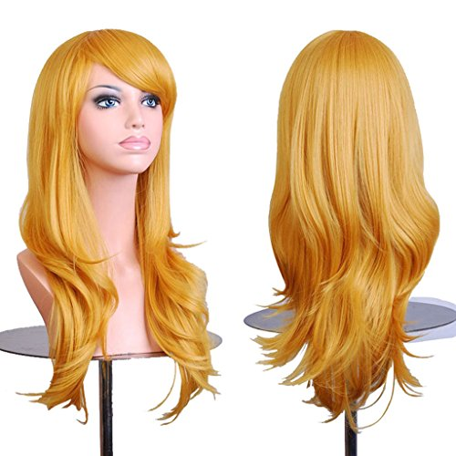 """AneShe Wigs 28"""" Long Wavy Hair Heat Resistant Cosplay Wig for Women (Yellow)"""