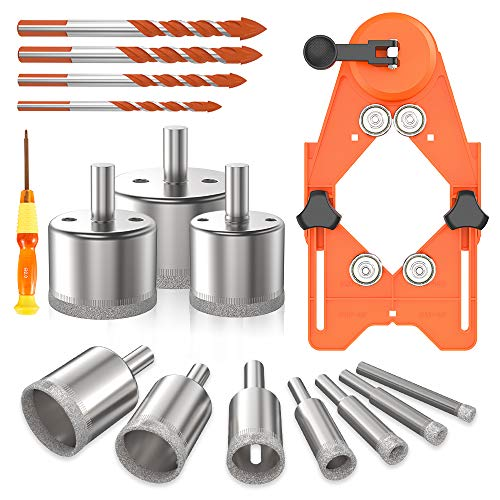 Kyoffiie Diamond Hole Saw Set, 16Pcs Hollow Drill Hole Saw Set, 10 Pcs Diamond Drill Bits with Adjustable Hole Saw Guidance Fixture & 4 Triangle Drill Bits & Screwdriver for Ceramic, Glass, Tile, Marble