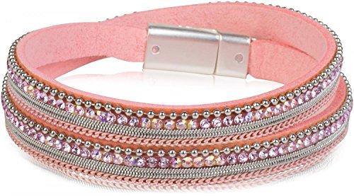 styleBREAKER Wickelarmband mit Strass, Gliederkette und Kügelchen, Magnetverschluss Armband, Damen 05040054, Farbe:Rosa