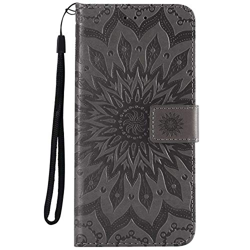 KKEIKO Hülle für Huawei Honor 8X, PU Leder Brieftasche Schutzhülle Klapphülle, Sun Blumen Design Stoßfest Handyhülle für Huawei Honor 8X - Grau