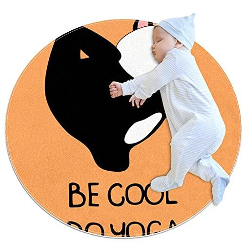 Lindo Yoga Panda Patrón Naranja Antideslizante Alfombra de área de respaldo Para Dormitorio Ronda Absorbente Alfombras Mujeres Yoga Alfombra Entryway Mats Kid Room Play Floor Mat 3.3'