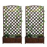 NSYNSY 2er Pack Gartenzaun Blumenständer/Blumenkasten Dickes Holz Wandmontage Innen- / Außenwanddekoration/Gartenpartition Karbonisierte Farbe (Größe: 66X37X120CM)