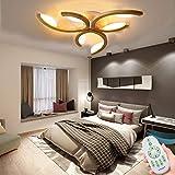 LED Deckenleuchte Holz I Schlafzimmerlampe I Wohnzimmerlampe I Modern Dimmbar Deckenlampe I Weiss Lampenschirm I'Sonnenlicht' I Geschwungen I 3 Flammig I 18 Watt I 1.450 Lumen I 66 * 8CM