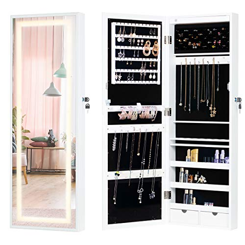 YOLENY Wall Jewelry Armoire, Jewelry Cabinet with Full Length Mirror, LED Light and Lockable Design, Large Capacity Dressing Mirror Makeup Jewelry Armoire, White