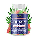 A REAL CHOICE = Premium Hemp SLEEP Gummies with MELATONIN for Deep Sleep, Relaxation, Anxiety, and Stress Relief. A Natural Sleep Aid and Insomnia Solution. Mood & Immune Support - Fast Results