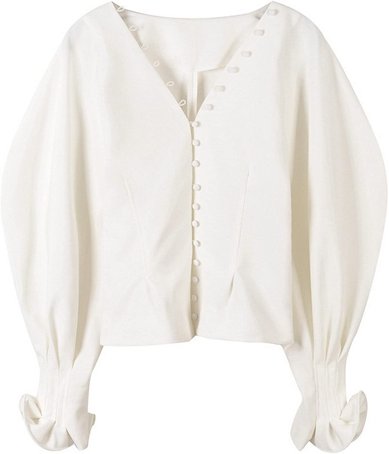 Get The Looks Buttons Up Voluminous Puff Sleeve Blouse