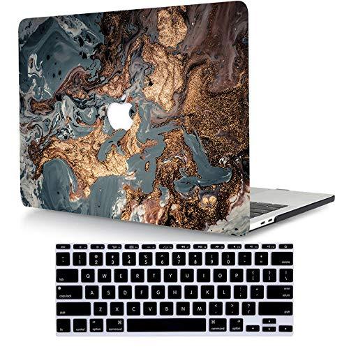 Bandless ACJYX Custodia Rigida Compatibile con MacBook PRO Retina 15 Pollici A1398 Versione 2015/2014/2013/2012 con Display Retina Protettiva in Plastica Copertina & Tastiera Cover, Marrone e Grigio
