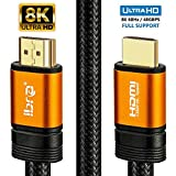 IBRA Orange 2.1 Cable HDMI de 8K Ultra Alta Velocidad 48Gbps Lead | Admite 8K@60HZ, 4K@120HZ,4320p,Compatible con Fire TV,Soporte 3D,Función Ethernet,8K UHD, 3D-Xbox Playstation PS3 PS4 PC,etc.- 1.5M