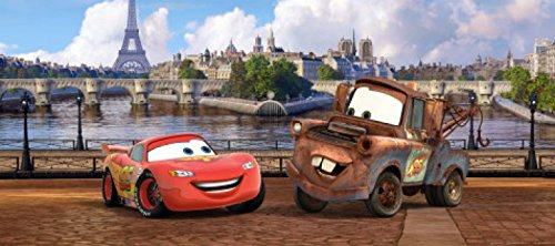 1art1 Cars - Lightning McQueen Und Hook In Paris Fototapete Poster-Tapete 202 x 90 cm