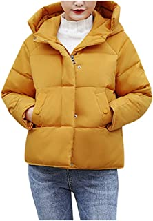 JESPER Women's Lightweight Water-Resistant Basic Solid Short Down Coat Winter Warm Cotton Padding Jacket with Hood Yellow