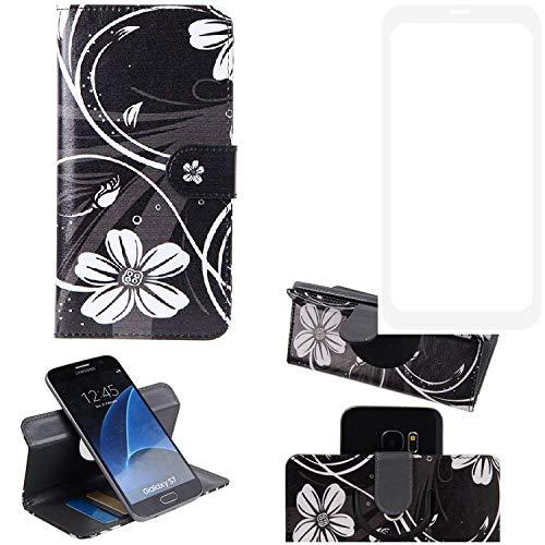 K-S-Trade® Schutzhülle Für Vestel V3 5580 Dual-SIM Hülle 360° Wallet Case Schutz Hülle ''Flowers'' Smartphone Flip Cover Flipstyle Tasche Handyhülle Schwarz-weiß 1x