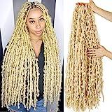 36 Inch Blond Butterfly Locs Crochet Hair 6 Packs Pre Looped Distressed Locs Crochet Braids Bob Butterfly Locs Synthetic Low Temperature Fiber Crochet Braid Hair(36 Inch (6packs), 613#)