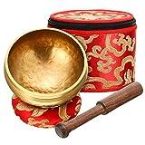 Kit de Cuenco de Canto Tibetano Cuenco de Sonido de Meditación con Caja de Seda y Cojín de Seda y Mazo, Cuenco de Yoga de Sonido Tibetano para Conciencia Yoga Familiar Amigo o Ti Mismo