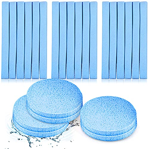 120 Pieces Compressed Facial Sponge Face Cleansing Sponge Makeup Removal Sponge Pad Exfoliating Wash Round Face Sponge for Women Girls (Blue)