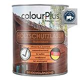 colourPlus® Barniz de alta protección (750ml, Nogal) Barniz satinado para madera, exteriores - Base para madera - Pintura de madera para exterior