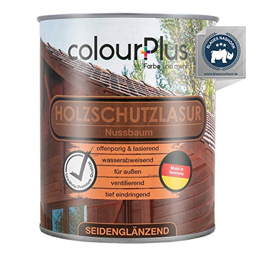 colourPlus® Barniz de alta protección (750ml, Nogal) Barniz satinado para madera, exteriores - Base para madera - Pintura de madera para exterior - Fabricado en Alemania