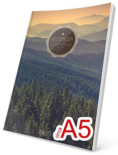 """TULPE Punktraster Notizbuch: Ca. A5 """"C038 Wälder"""" (Vintage Softcover, Register, Punktkariertes Papier - Bullet Journal, Notizheft, Skizzenbuch, Tagebuch, Gepunktete Seiten, Dot Grid Notebook)"""