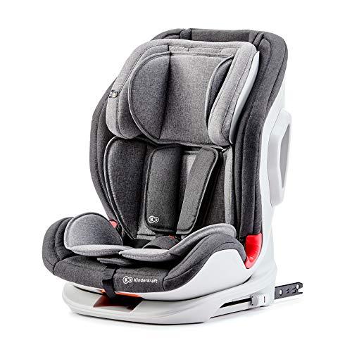 Kinderkraft Kinderautositz ONETO3, Autokindersitz, Autositz, Kindersitz mit Isofix und Top Tether, Gruppe 1/2/3 9-36kg, Side Protection System, 5-Punkt-Sicherheitsgurt, ECE R44/04, Grau